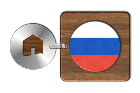 icona: Home symbol made of steel and wood with Russia flag