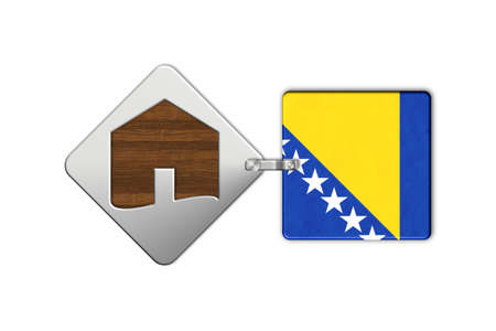 lucido: Symbol home 2 steel and wood with Bosnia flag Stock Photo