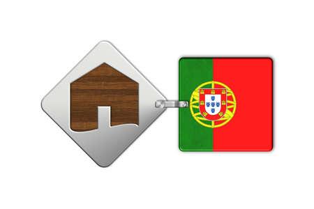 bandera de portugal: casa 2 S�mbolo de acero y madera con la bandera de Portugal Foto de archivo