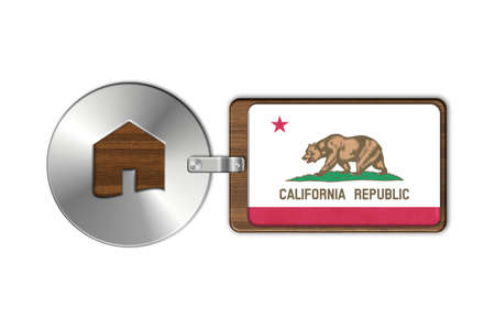 lucido: Home symbol made of steel and wood with California flag