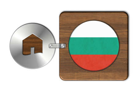 icona: Home symbol made of steel and wood with Bulgaria flag