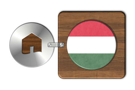 lucido: Symbol house in steel and wood with flag Hungary