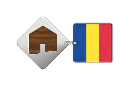 lucido: Symbol home 2 steel and wood with Romania flag Stock Photo