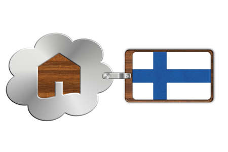 made in finland: Cloud and house made of steel and wood with Finland flag Stock Photo