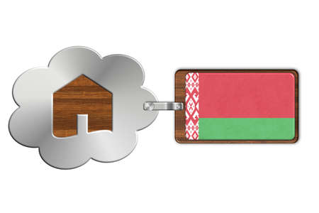 lucido: Cloud and house made of steel and wood with Belarus flag
