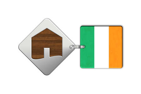lucido: Symbol home 2 steel and wood with Ireland flag Stock Photo