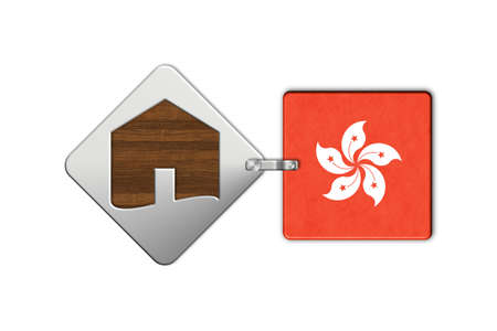 lucido: Symbol home 2 steel and wood with Flag Hong Kong