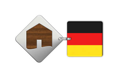 icona: Symbol home 2 steel and wood with Germany flag