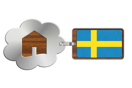 lucido: Cloud and house of steel and wood with flag Sweden