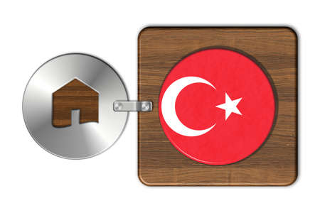 icona: Home symbol made of steel and wood with Turkey flag Stock Photo