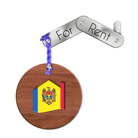 icona: Gadget steel and wood with the nation and home symbol for rent Moldova
