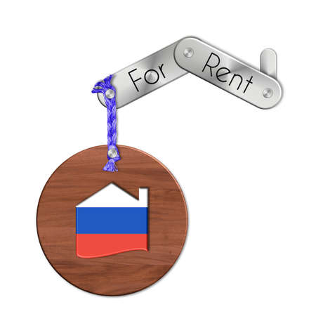 icona: Gadget steel and wood with the nation and home symbol for rent Russia