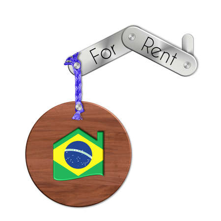 lucido: Gadget steel and wood with the nation and home symbol for rent Brazil