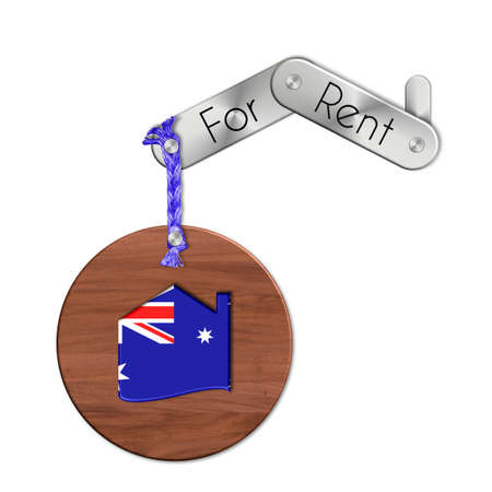 icona: Gadget steel and wood with the nation and home symbol for rent Australia