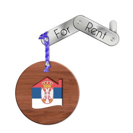 icona: Gadget steel and wood with the nation and home symbol for rent Serbia Stock Photo