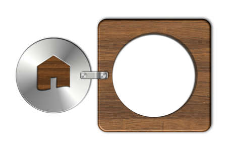 icona: Gadgets house in steel and wood Stock Photo