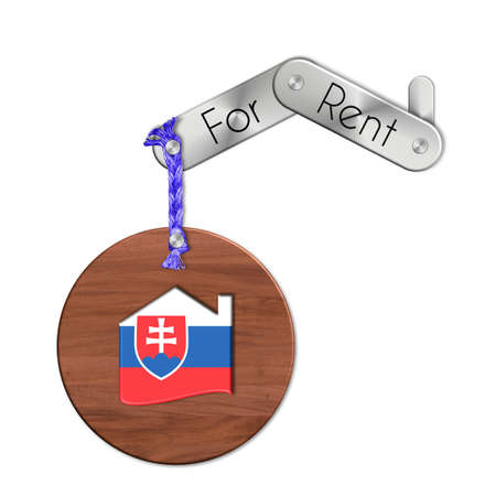 lucido: Gadget steel and wood with the nation and home symbol for rent Slovakia