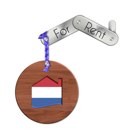 icona: Gadget steel and wood with the nation and home symbol for rent Netherlands