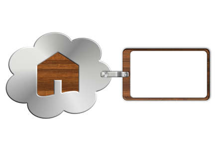 lucido: Cloud of steel and wood with white label