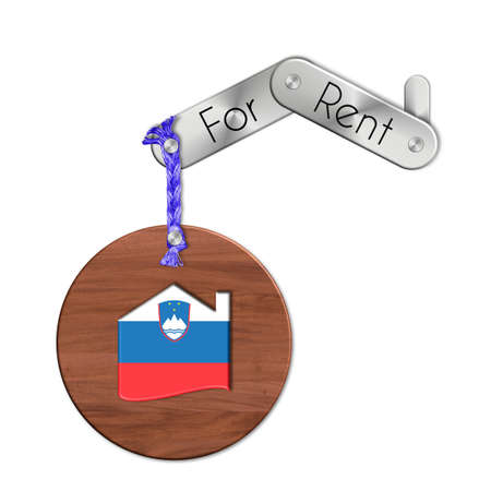 icona: Gadget steel and wood with the nation and home symbol for rent Slovenia Stock Photo