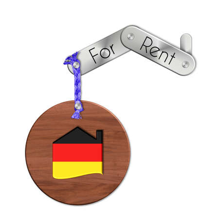 lucido: Gadget steel and wood with the nation and home symbol for rent Germany