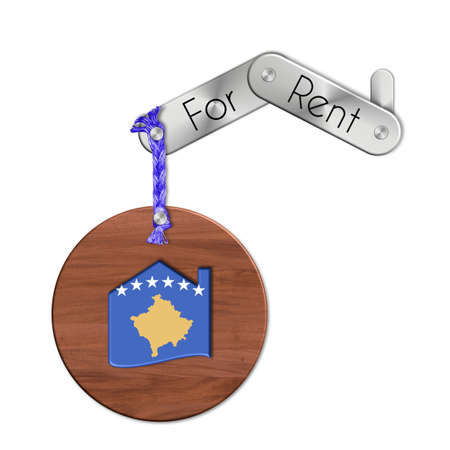 icona: Gadget steel and wood with the nation and home symbol for rent Kosovo