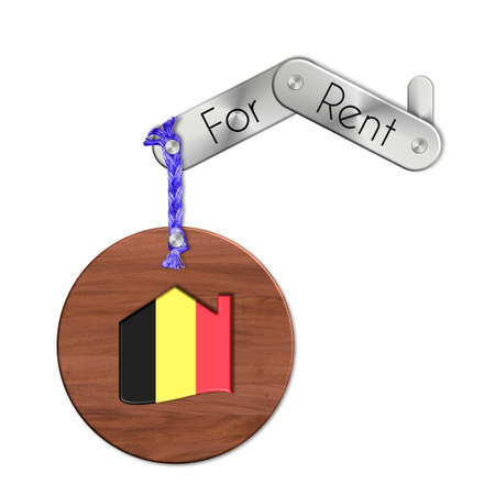 icona: Gadget steel and wood with the nation and home symbol for rent Belgium