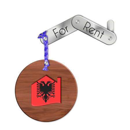 icona: Gadget steel and wood with the nation and home symbol for rent Albania Stock Photo