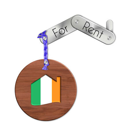 icona: Gadget steel and wood with the nation and home symbol for rent Ireland