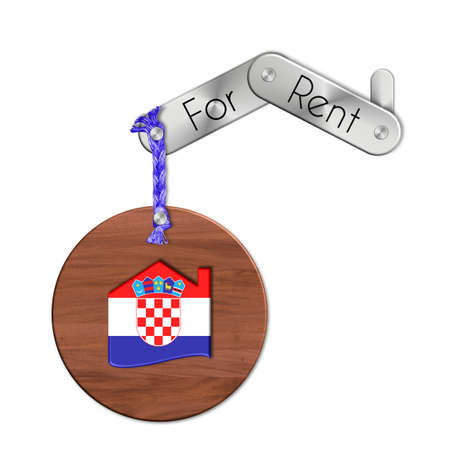 lucido: Gadget steel and wood with the nation and home symbol for rent Croatia