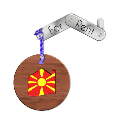 lucido: Gadget steel and wood with the nation and home symbol for rent Macedonia
