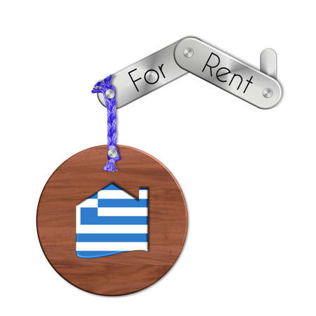 icona: Gadget steel and wood with the nation and home symbol for rent Greece