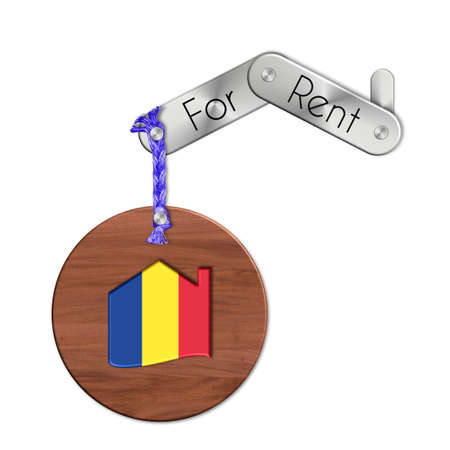 lucido: Gadget steel and wood with the nation and home symbol for rent Romania Stock Photo