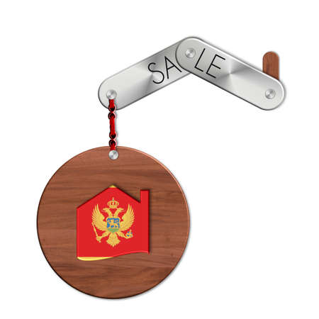 lucido: Gadget steel and wood with the nation and home symbol Montenegro sale Stock Photo
