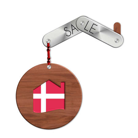icona: Gadget steel and wood with the nation and home symbol sale Denmark