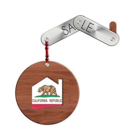 lucido: Gadget steel and wood with nation and a symbol California home sales Stock Photo