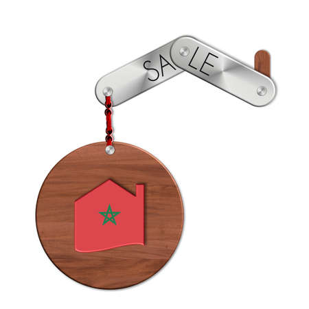 lucido: Gadget steel and wood with the nation and home symbol Morocco sale Stock Photo