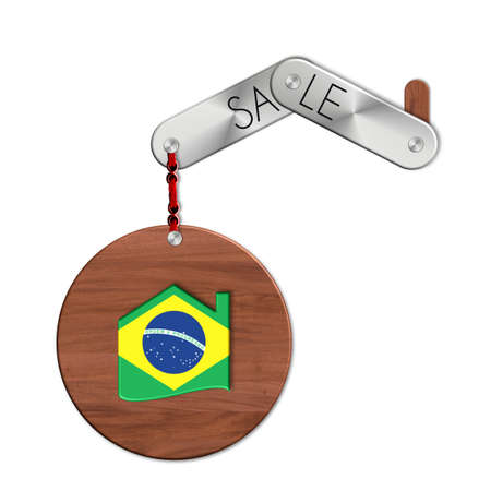 lucido: Gadget steel and wood with the nation and home symbol Brazil sale