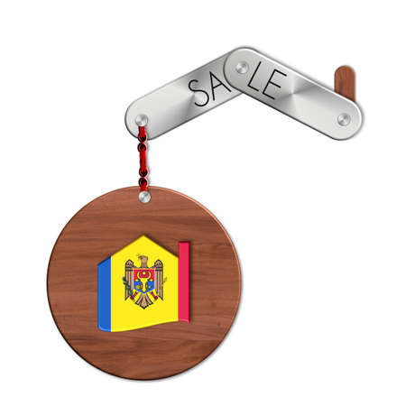 icona: Gadget steel and wood with the nation and home symbol Moldova sale