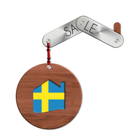 icona: Gadget steel and wood with the nation and home symbol Sweden sale Stock Photo
