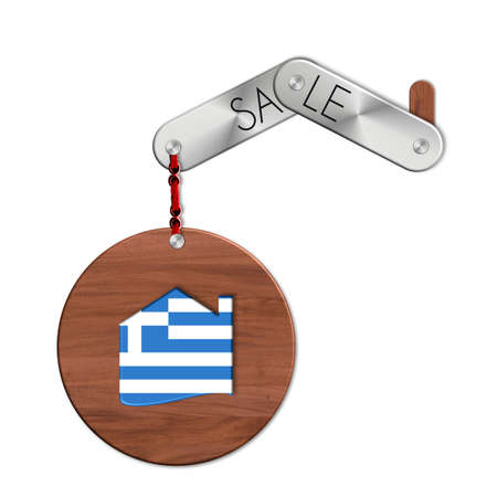 icona: Gadget steel and wood with the nation and home symbol sale Grrece Stock Photo
