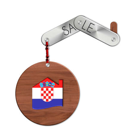 icona: Gadget steel and wood with nation and a symbol Croatia house sales