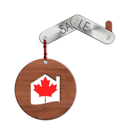 icona: Gadget steel and wood with the nation and home symbol sale Canada Stock Photo