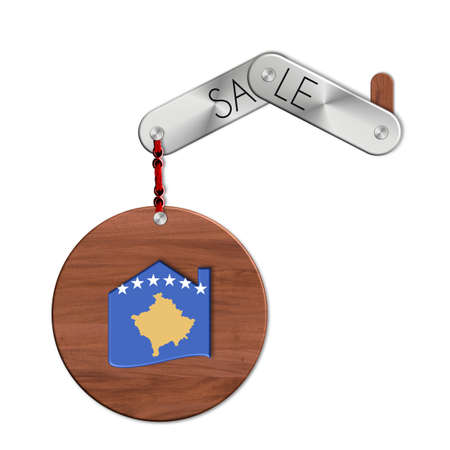 icona: Gadget steel and wood with the nation and home sales symbol Kosovo