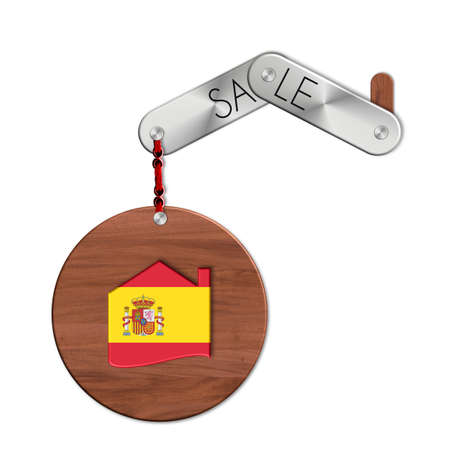 icona: Gadget steel and wood with the nation and home symbol Spain sale