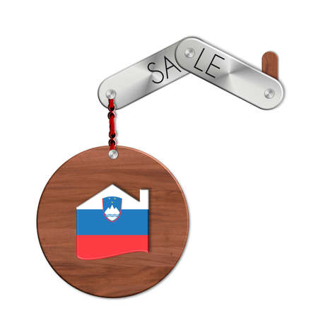 icona: Gadget steel and wood with the nation and home symbol Slovenia sale Stock Photo