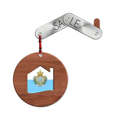 icona: Gadget steel and wood with the nation and home symbol sale San Marino Stock Photo