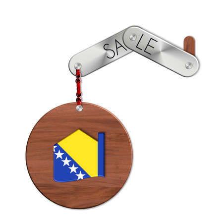 lucido: Gadget steel and wood with nation and sale symbol Bosnia house