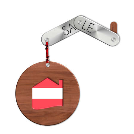 lucido: Gadget steel and wood with the nation and home symbol Austria sale Stock Photo