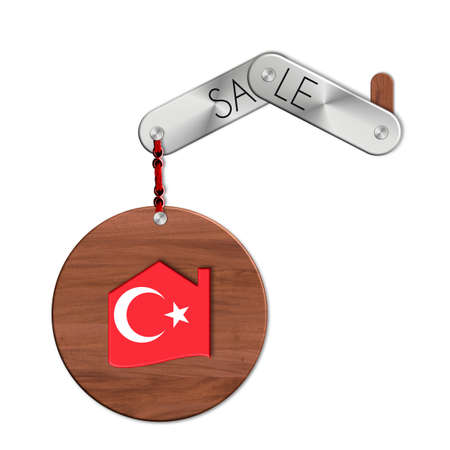 lucido: Gadget steel and wood with the nation and home symbol sale Turkey Stock Photo